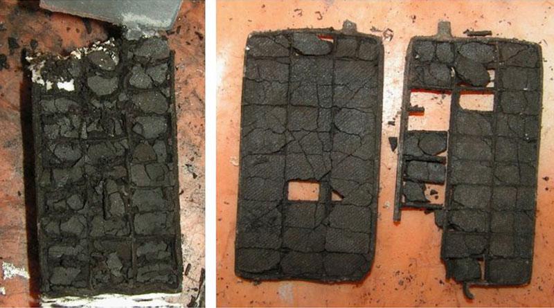 Активный материал выпавший из решетки аккумуляторной пластины