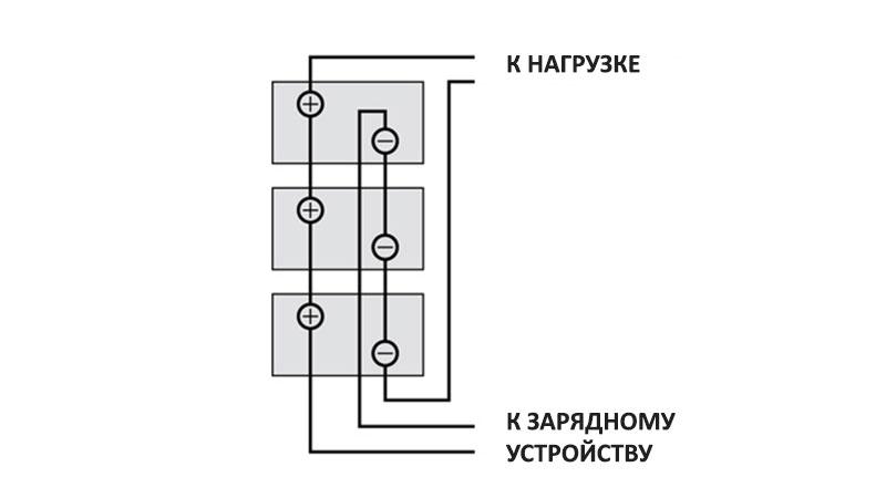 Подключение зарядного устройства к батарее параллельно соединенных аккумуляторов.