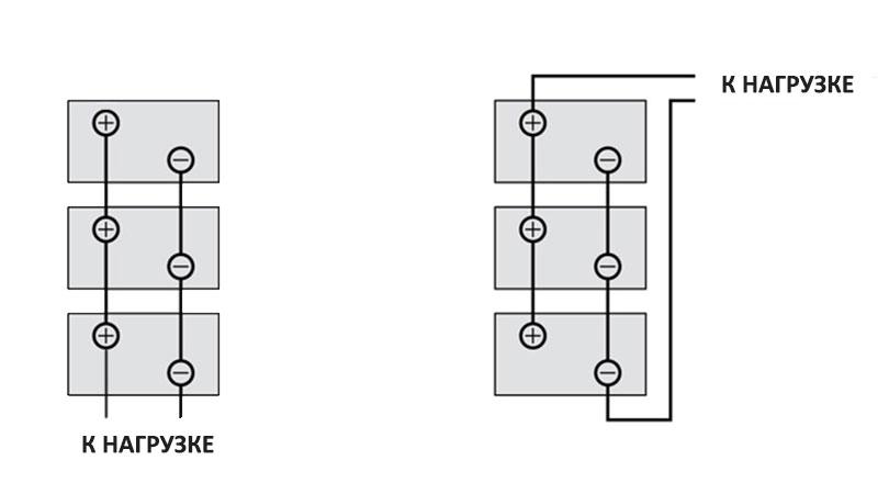 Подключения нагрузки к батарее параллельно соединенных аккумуляторов