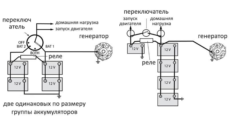 Схема подключения аккумуляторов на катере